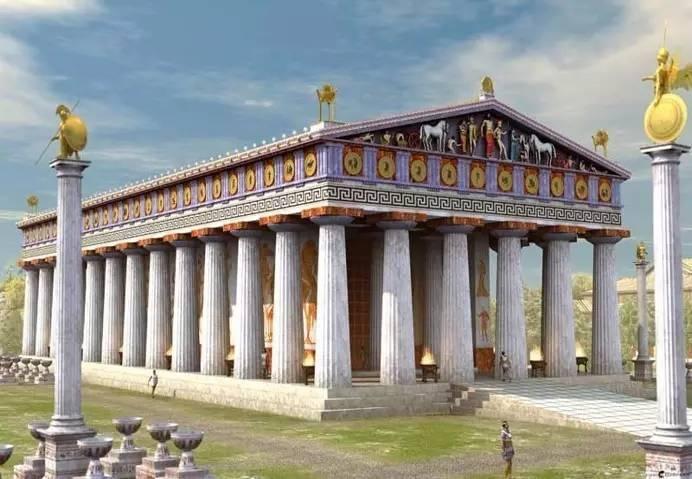 特别增强实景软件看到完整的3D彩色的公元前5世纪的卫城雕像、建筑和古代文物