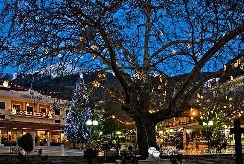 希腊冬天酒店餐馆中欢奏的音乐声